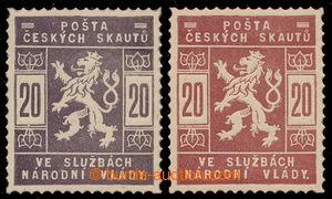 197717 - 1918 ZT  SK2, hodnota 20h, sestava 2ks zkusmých tisků v hněd
