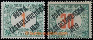 197719 -  Pof.131, Červené číslice 1f, III. typ přetisku + Pof.139, h