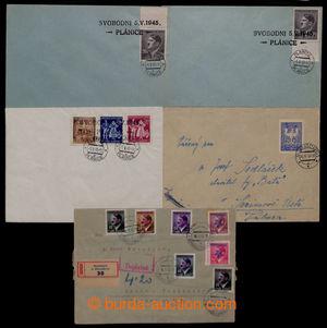 197768 - 1945 sestava 5ks celistvostí, 1x R-dopis vyfr. 7ks přetisk