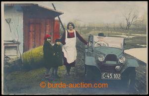 197787 - 1933 Automobil - Areo, ručně kolorovaná fotopohlednice, nepr