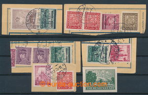 197801 - 1939 comp. 4 pcs of parcel dispatch card segments and 1 cut