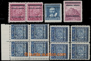 197802 - 1939 selection of several printing flaws overprint vedených