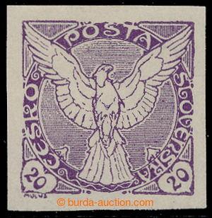 197920 - 1918 Pof.NV5N, Sokol v letu, NEVYDANÁ 20h fialová; téměř nez