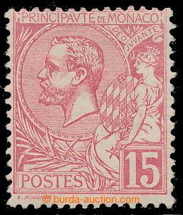 197934 - 1891-1894 Mi.15, Albert I. 15C karmínovo-růžová; kat. 200€