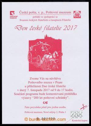 197965 - 2017 PPM22, den české filatelie 2017; pozvánka Poštovní