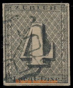 197987 - 1843 ZÜRICH Mi.1II, 4Rp Local Taxe, vzácnější VODOROVNÝ PODT
