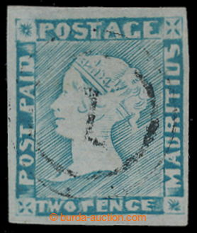 197996 - 1848-59 SG.21, Modrý Mauritius POST PAID, worn impression v