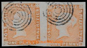197998 - 1848-59 SG.11, 2-páska Červených Mauritiů POST PAID dull ver