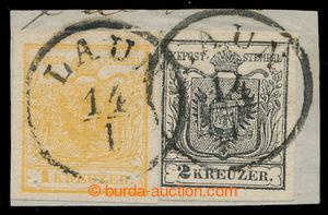 197999 - 1850 Ferch.1HI, 2HI; Znak 1+2kr ruční papír, I. typy, na výs