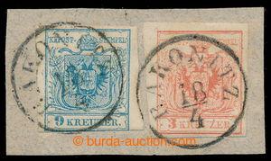 198103 - 1850 Ferch.3MI, 5MIII; výstřižek se známkami Znak 3Kr+9Kr, I