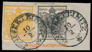 198105 - 1850 Ferch.1HI, 2HI; výstřižek se známkami Znak 1Kr+2Kr, Ib