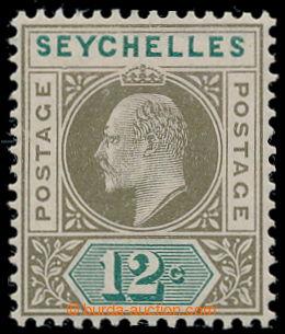 198117 - 1903 SG.49a, Edvard VII. 12C olivová / zelená, chybotisk DEN