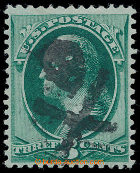 198145 - 1883 Sc.158, Washington 3C zelená s celým fancy cancel SKULL