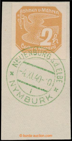 198201 - 1940 PDR1, malý výstřižek se zn. Pof.NV1, zelené PR NEUENBUR