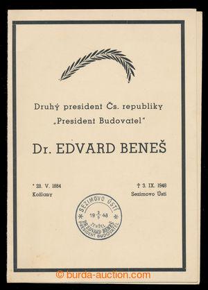 198266 - 1948 Pamětní 4-stranový list formátu 12x17cm vydaný k úmrtí