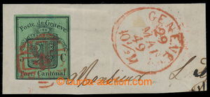 198300 - 1848 GENF / Mi.5, Znak Velký Orel tmavě zelená na výstřižku