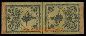 198305 - 1863 Mi.1IIK, Tugra 20 Para černá / žlutá, PROTISMĚRNÝ PÁR,