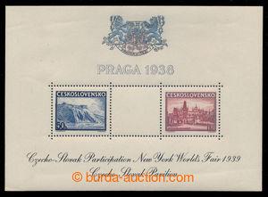 198368 - 1939 Pof.AS4f, aršík Praga 1938, výstava NY 1939, černý text