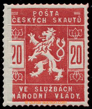 198436 - 1918 Pof.SK2, hodnota 20h červená s výrobní vadou - nedotisk