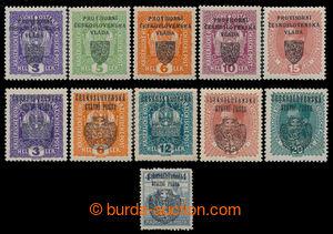 198437 - 1918 sestava 11ks přetiskových revolučních zn., obsahuje Pra
