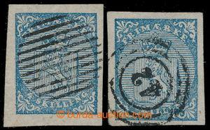 198505 - 1855 Mi.1, Znak 4Sk modrá, 2ks, 1x s celým čárkovým kulatým
