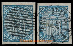 198506 - 1855 Mi.1, Znak 4Sk modrá, 2ks, 1x s celým čárkovým kulatým