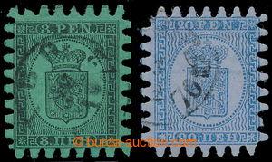 198533 - 1866 Mi.6Bx, 8Bx, Znak 8Pen černá + 20Pen modrá, obě obyčejn