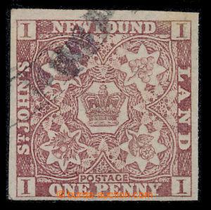 198590 - 1857-1864 SG.1, Heraldické květiny 1P hnědo purpurová na pap