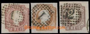198612 - 1856 Mi.9a, b, c, Pedro V. 5R červenohnědá, žlutohnědá a čer