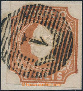 198613 - 1853 Mi.1b, Maria II. 5R červenohnědá, s pěkným mřížovým raz