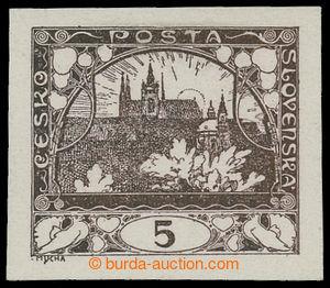 198965 -  ZT  hodnoty 5h, I. kresba, zkusmý tisk v hnědé barvě na kří