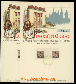 199136 - 1939 Memorial sheet issued to opening theatre in Kolín, gree