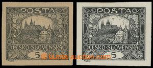 199196 -  ZT  hodnoty 5h V. kresba v černé barvě, 2ks, 1x na nahnědlé