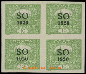 199223 -  Pof.SO4, Hradčany 10h zelená, NEZOUBKOVANÝ 4-BLOK (!); luxu