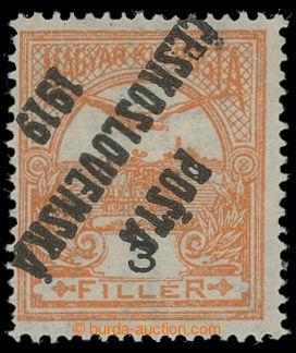 199255 -  Pof.91Pp, Turul 3f oranžová, převrácený přetisk, II. typ; s