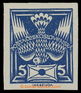 199283 -  Pof.143N R1, 5h blue IMPERFORATED, with retouch in letter,