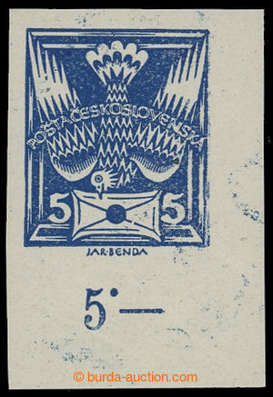 199288 -  Pof.143N plate variety, 5h blue IMPERFORATED, bottom corner