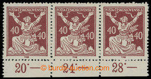 199298 -  Pof.154A ST, 40h brown, horizontal strip of 3 with lower ma