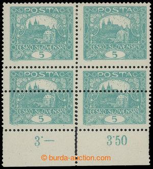 199312 -  Pof.4B, 5h modrozelená, 4-blok s dolním okrajem, HZ 11&#190