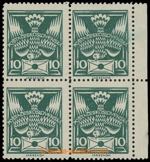 199316 -  Pof.145B, 10h dark green, marginal block of 4, line perfora