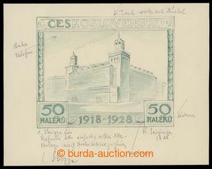 199322 - 1928- ZT  Pof.235, Jubilejní 50h, částečně kolorovaná kresba
