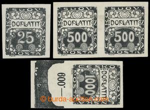 199363 - 1919 ZT  Ornament,  sestava 3ks zkusmých tisků v černé barvě