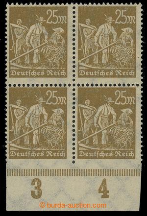 199465 - 1923 Mi.242Uu, Rolníci 25M okrová, 4-blok s dolním okrajem s