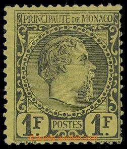 199483 - 1885 Mi.9, Karel III. 1Fr černá / žlutá; neznatelný ohyb a m