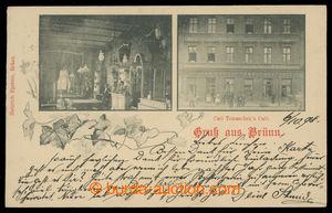 199623 - 1898 BRNO - Carl Tomaschek Cafe, interiér a pohled z ulice,