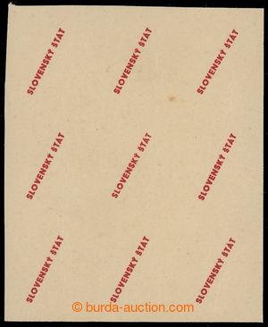 199656 - 1939 ZT  zkusmý tisk přetisku Slovenský štát 1939 v červené