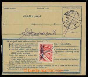 199664 - 1943 balíková průvodka bez levého útržku zaslaná Ex- do Brat