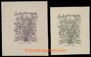 199812 - 1951 NEPŘIJATÝ NÁVRH / zkusmý tisk na zn. Dětem 1,50Kčs, 2ks