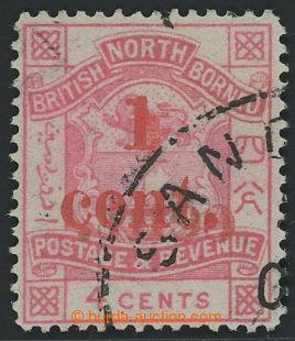 199844 - 1892 SG.63b, Znak 4C růžová, OBOUSTRANNÝ PŘETISK 1 CENTS, DR