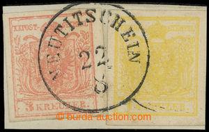 199848 - 1850 Ferch.1MIII a 3MIIIb, výstřižek s Znak 1Kr+3Kr strojní